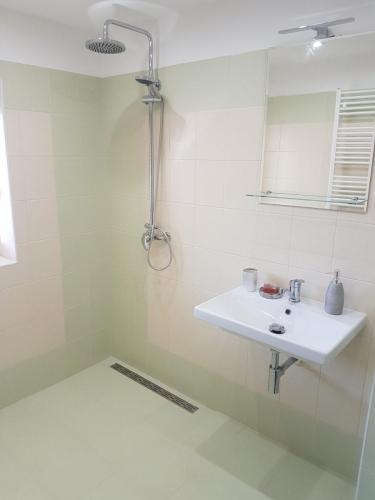Koupelna s bezbariérovým sprchovým koutem